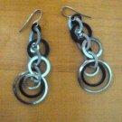 Silver and black multihoop retro earrings