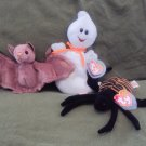 Ty Beanie Babies Halloween Trio- Spooky, Batty, and Spinner