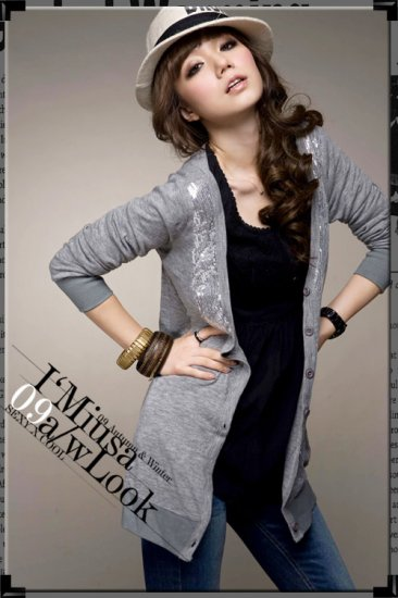 Grey Sequined Long Cardi