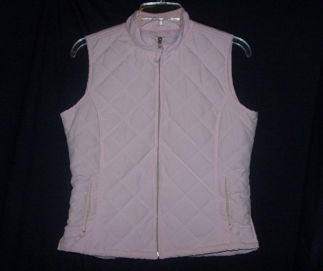 Pink French Cuff Quilted Puffer Vest