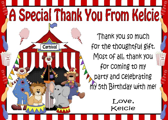 12 Circus Carnival Clowns Big Top Birthday Thank You Cards