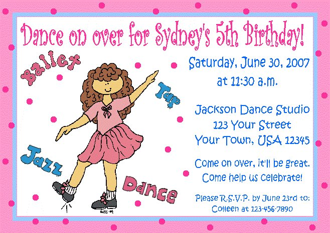 12 dance jazz tap invitations personalized birthday party