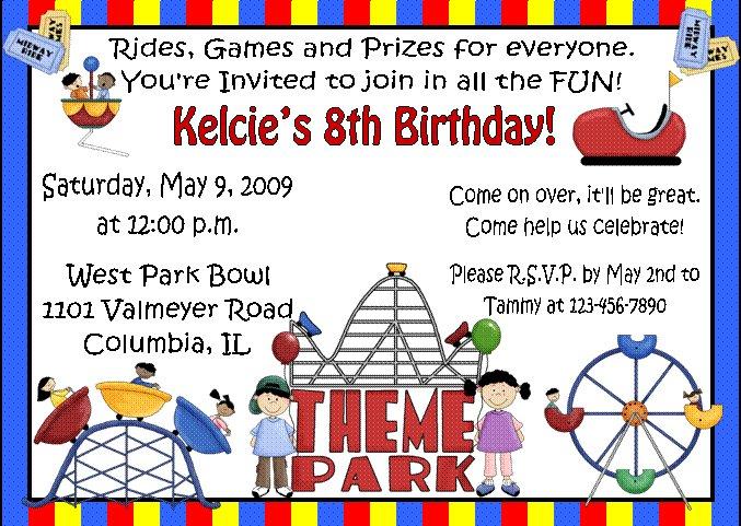 12 THEME PARK AMUSEMENT CARNIVAL Invitations Personalized Party – Park Birthday Invitations
