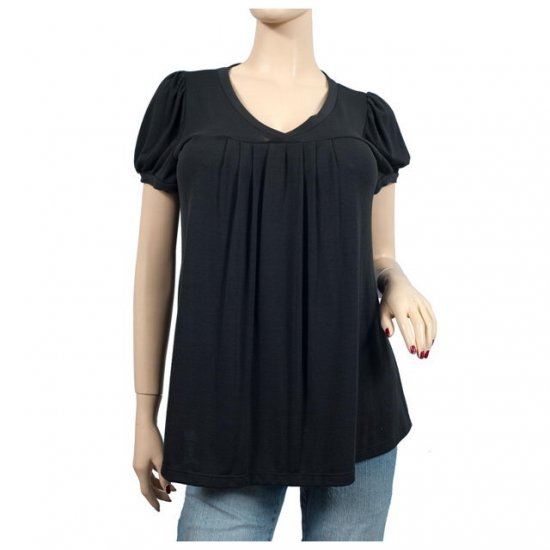 Black Draped Scoop Neck Short Sleeve Plus Size Top 4X