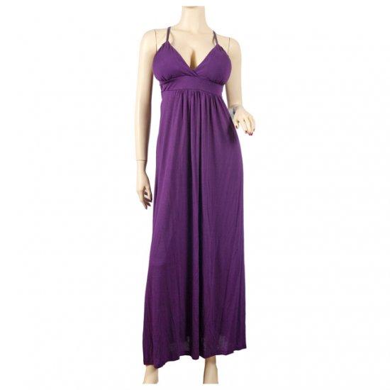 Purple Empire Waist Deep Cut Plus Size Maxi Dress 1X
