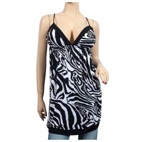 Sexy Black White Zebra Print Low Cut Plus Size Top 3X