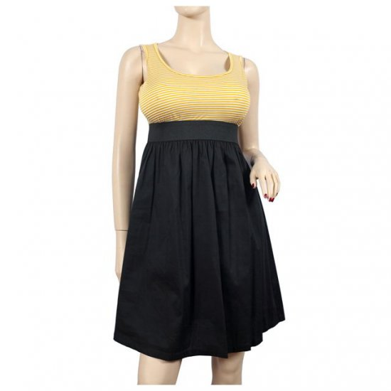 Yellow Black Stripe Print Plus Size Mini Dress 1X