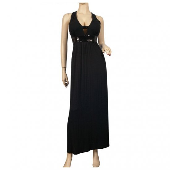 Trendy Black Glitter Plus size Maxi Cruise Dress 2X