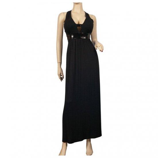 Trendy Black Glitter Plus size Maxi Cruise Dress 1X
