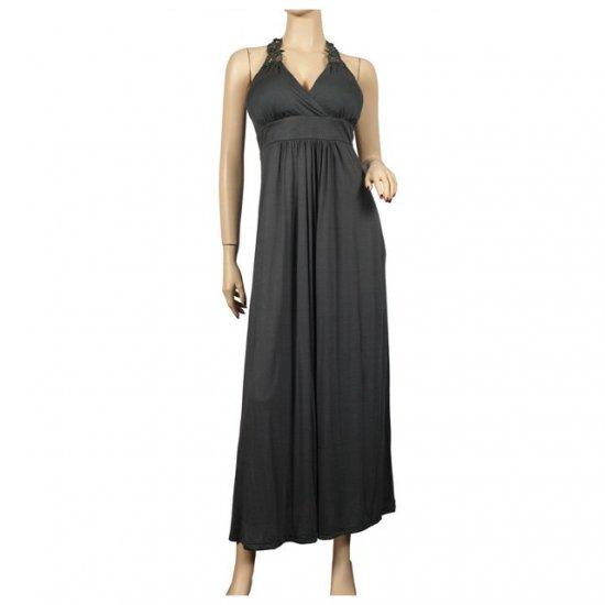 Sexy Gray Lace back Plus size Maxi dress 2X
