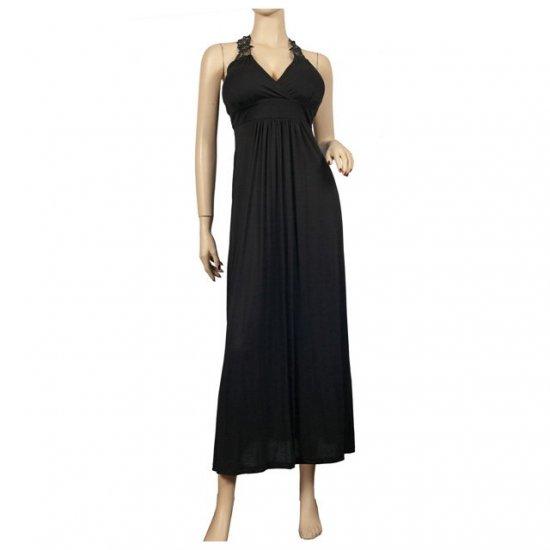 Sexy Black Lace back Plus size Maxi dress 1X