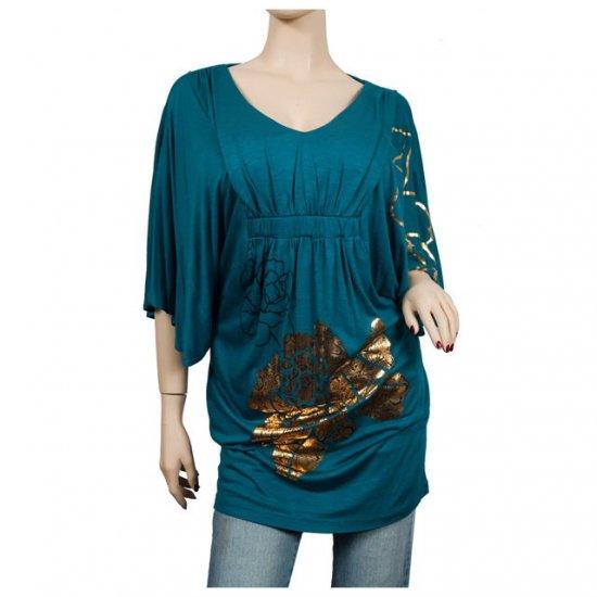 Teal Kimono sleeve Floral print Plus size top 2X