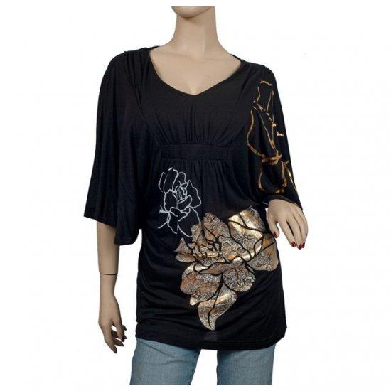 Black Kimono sleeve Floral print Plus size top 3X