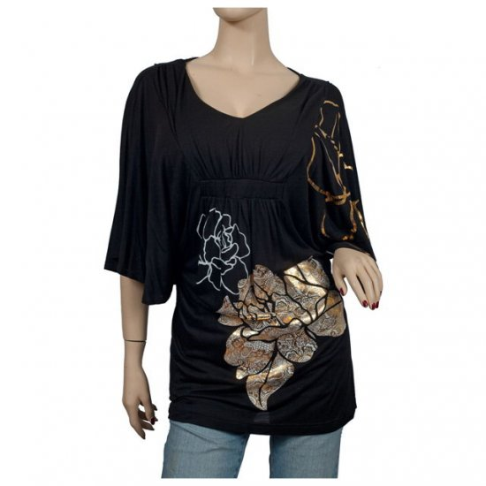 Black Kimono sleeve Floral print Plus size top 2X