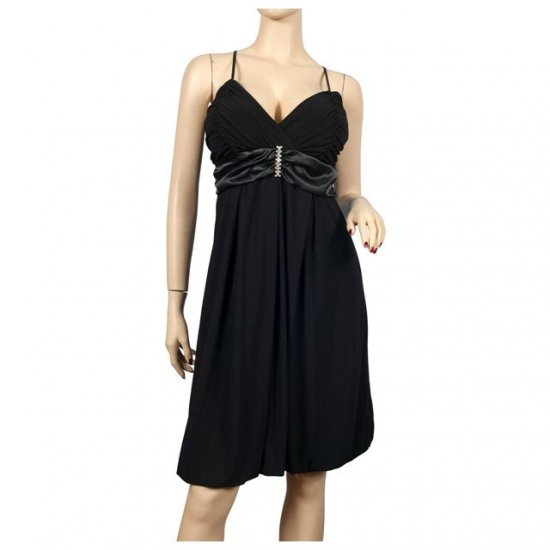 Black Wrap Bodice Empire waist plus size Dress 3X