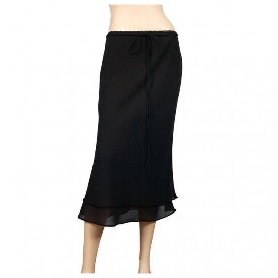 Black Layered Plus size long skirt 1X