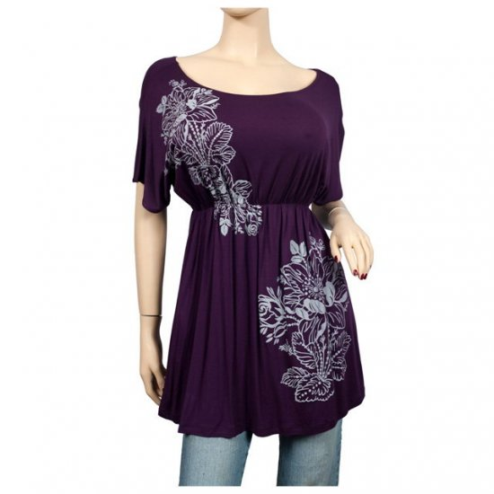 Purple Floral print Wide scoop neck Plus size top 1X