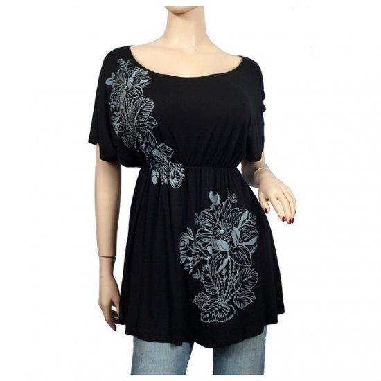 Black Floral print Wide scoop neck Plus size top 2X