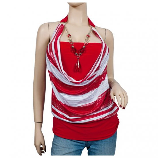 Red Glitter print Necklace O-ring Plus size top 2X