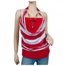 Red Glitter print Necklace O-ring Plus size top 1X