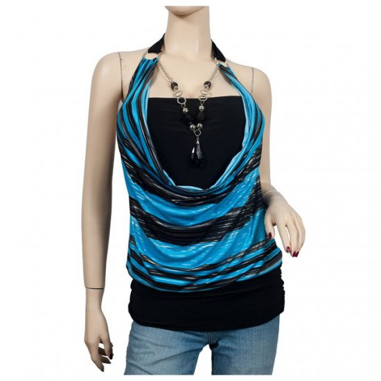 Blue Glitter print Necklace O-ring Plus size top 2X
