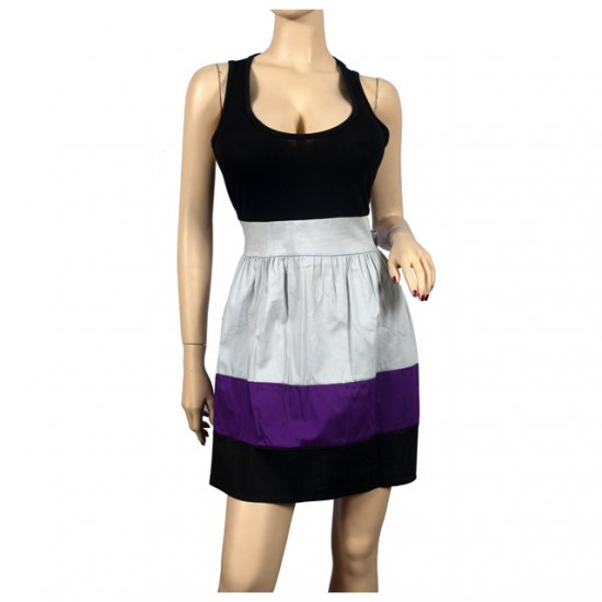 Sexy Black Purple Sleeveless Plus Size Mini Dress 2X