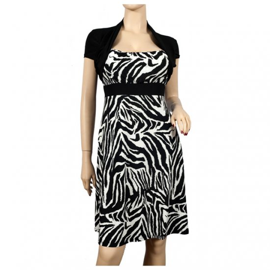 Black Animal Print Faux Shrug Plus Size Dress 3X