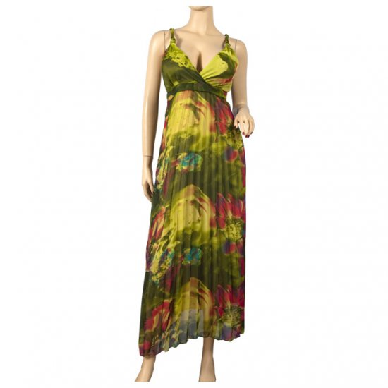 Sexy Green Chiffon Plus Size Cruise Maxi Dress 2X