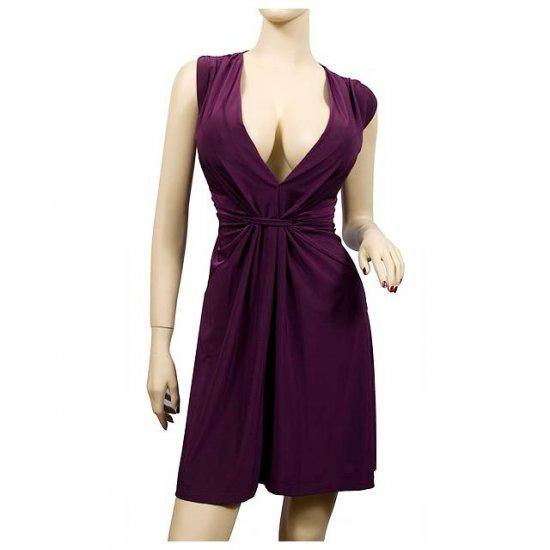 Sexy Purple Low Cut V-Neck Plus Size Mini Dress 4X