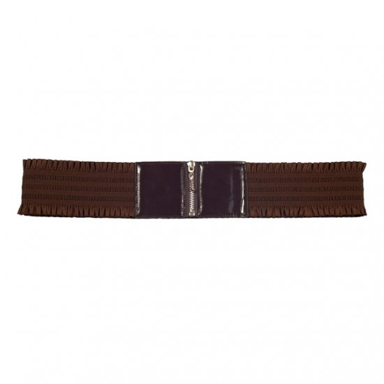 Elastic Zipper Brown Plus Size Belt One Size Fits All