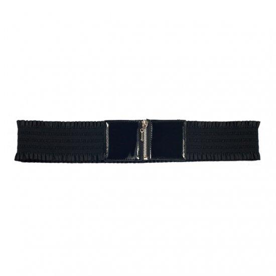 Elastic Zipper Black Plus Size Belt One Size Fits All