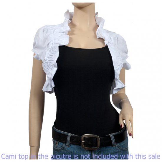 White COTTON Ruffled Collar Plus Size Bolero Shrug 1X