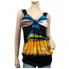 Yellow Blue Designer Print Drape Front Plus Size Top 2X