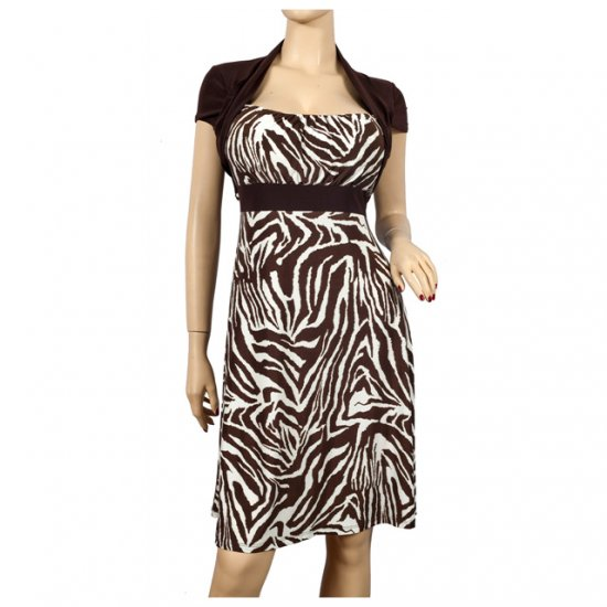 Brown Animal Print Faux Shrug Plus Size Dress 2X