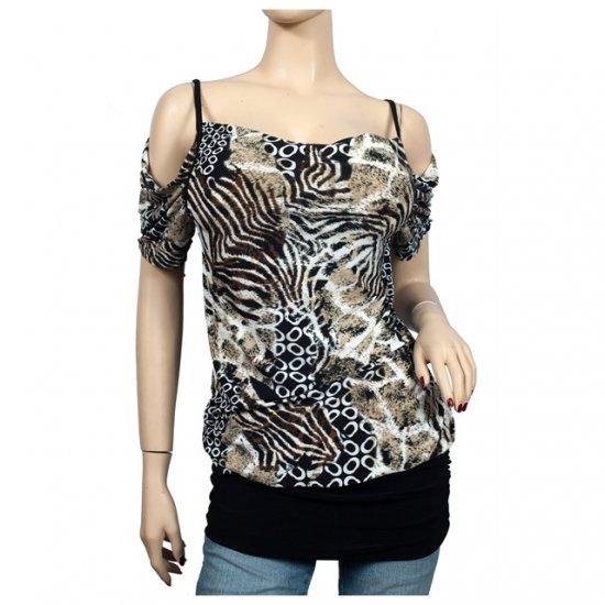 Black designer print off shoulder plus size top 1X