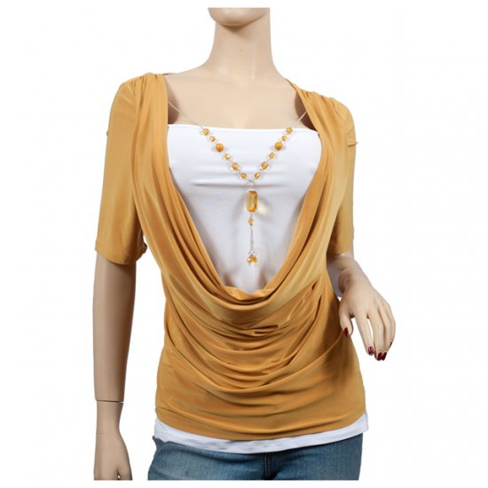 YELLOW Layered Rhinestone Necklace Plus Size Top 2X