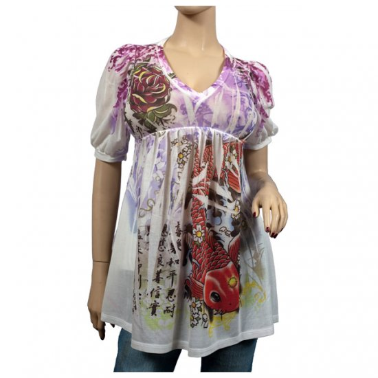 White Floral Koi Print Scoop Neck Top M