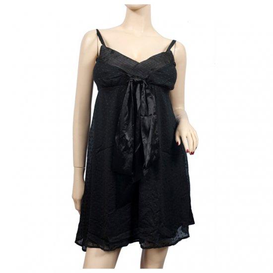 Black Layered Ribbon Accent Mini Dress S