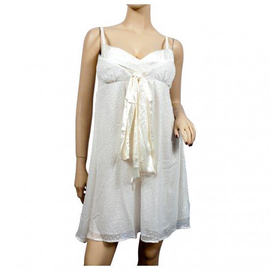 White Layered Ribbon Accent Mini Dress L