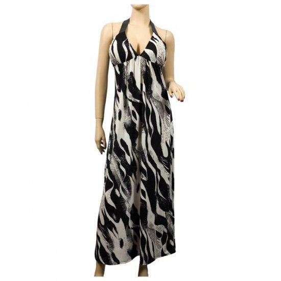 NEW Black Print Deep V-Neck Halter Plus Size Dress 1X