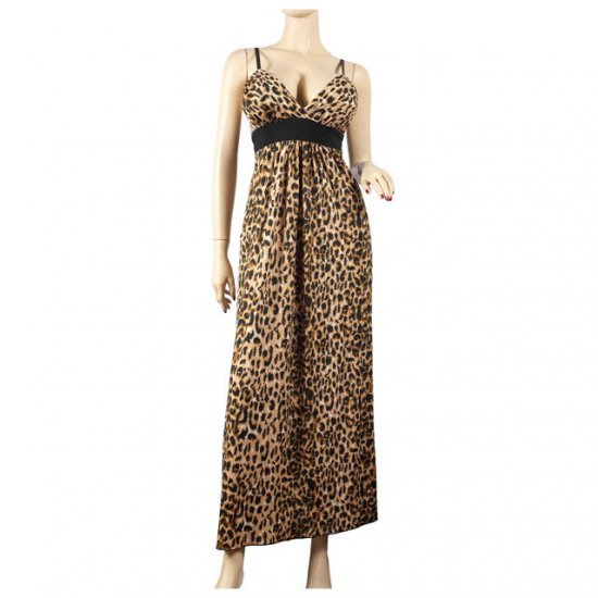 Brown Animal Print Plus Size Maxi Dress 1X