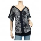 Black zebra print split shoulder plus size top 1X