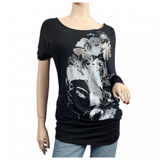 Black Floral Print Wide Neck Plus Size Tunic Top 1X