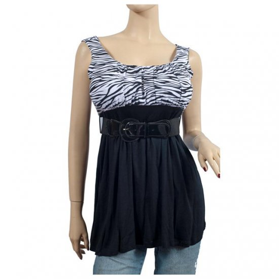 Black Zebra Print Belt Accent Plus Size Top 1X