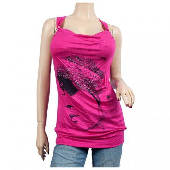 Pink Designer Print Rhinestone Accent Plus Size Top 2X