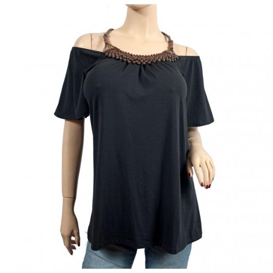 Black Bead Accented Short Sleeve Plus Size Top 3X