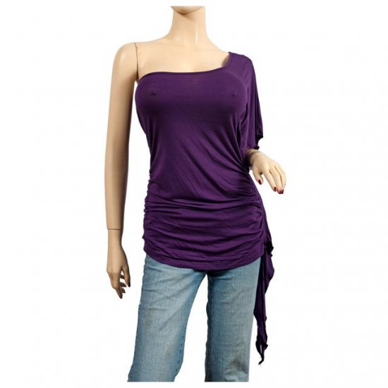 Sexy Purple One Shoulder Plus Size Tunic Top 3X