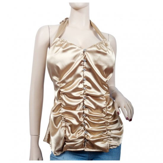 Gold Satin Ruched Button Front Plus Size Halter Top 2X