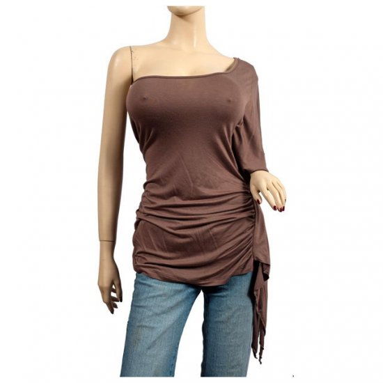 Sexy Brown One Shoulder Plus Size Tunic Top 1X