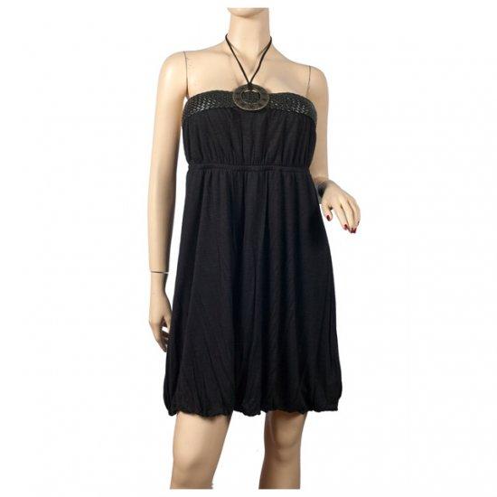 Sexy Black o-ring accent Plus size mini dress 1X
